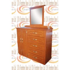 CHEST OF DRAWER PATTERNED WITH MIRROR  5 DRAWERS
