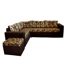3PC CORNER SECTIONAL D/BROWN WITH CREAM AND BROWN SWIRL CUSHIONS